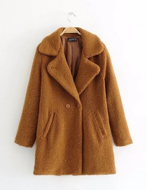 Trendy Brown Pure Color Decorated Long Sleeves Coat