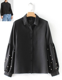 Trendy Black+gray Pearls Decorated Long Sleeves Shirt