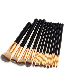 Trendy Coffe+gray Color Matching Decorated Makeup Brush(12pcs)
