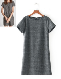 Fashion Gray Grid Pattern Decorated Round Neckline Dress