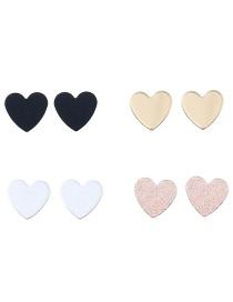 Trendy Multi-color Heart Shape Decorated Simple Earrings(4pcs)