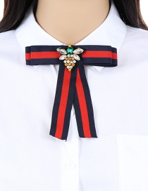 Trendy Red+navy Bee Decorated Simple Bowknot Brooch