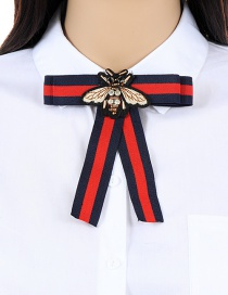 Trendy Red+navy Insect Decorated Simple Bowknot Brooch