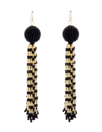 Fashion Black +champagne Round Shape Decorated Tassel Earrings