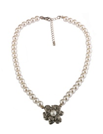 Elegant Silver Color Flower Shape Decorated Necklace