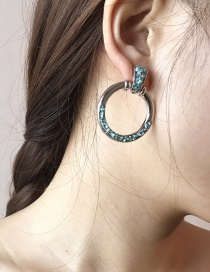 Fashion Silver Color+blue Gravel Decorated Round Earrings