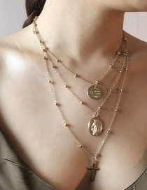 Fashion Gold Color Coin Shape Decorated Multi-layer Necklace