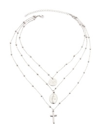 Fashion Silver Color Coin Shape Decorated Multi-layer Necklace