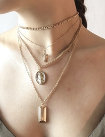Fashion Gold Color Metal Coin Shape Decorated Double-layer Necklace
