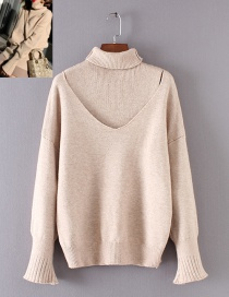 Fashion White Stitching Design Pure Color Sweater
