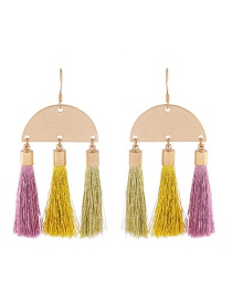 Bohemia Multi-color Semicircle Shape Decorated Tassel Earrings