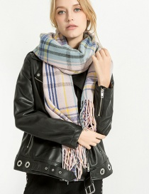 Fashion Black+pink Grids Pattern Decorated Tassel Scarf