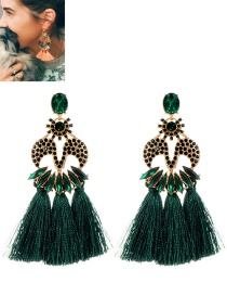Fashion Dark Green Tassel Decorated M Shape Earrings