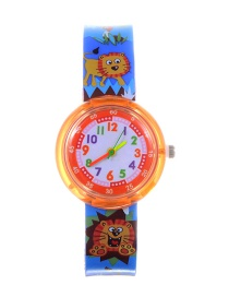 Fashion Orange+blue Lion Pattern Decorated Child Watch