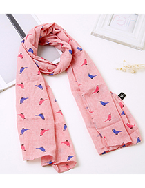 Lovely Watermelon Red Bird Pattern Decorated Child Scarf(1-12 Years Old)