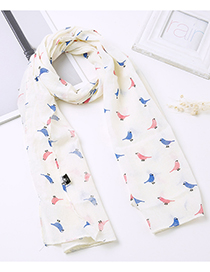 Lovely Beige Bird Pattern Decorated Child Scarf(1-12 Years Old)