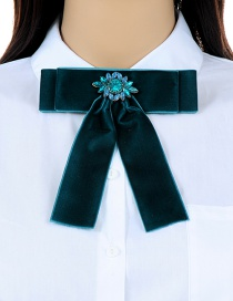 Fashion Dark Green Flower Decorated Bowknot Shape Brooch