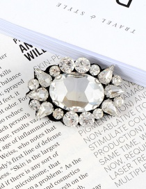 Fashion White Full Diamond Decorated Simple Brooch