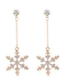 Fashion Gold Color Snowflake Pendant Decorated Long Earrings