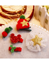 Fashion Red+green Mickey Shape Decorated Christmas Hairpin (5pcs)
