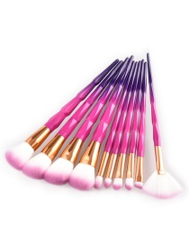 Fashion Pink Color-matching Decorated Brushes(10pcs)