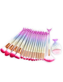 Fashion Plum-red+white Mermaid Shape Decorated Brushes (15pcs)