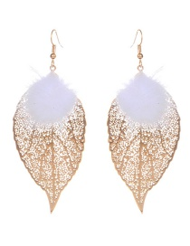 Fashion White Leaf Pendant Decorated Pom Earrings
