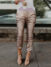 Fashion Gold Color Sequins Decorated Simple Pants