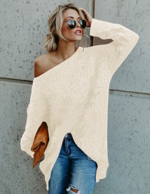Fashion Beige Pure Color Decorated Long Sleeves Sweater