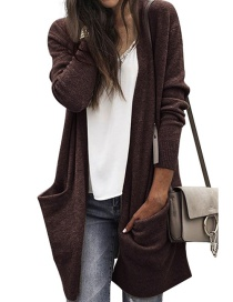 Fashion Brown Pure Color Decorated Long Sleeves Coat