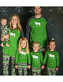 Fashion Green Elk Pattern Decorated Leisure Blouse(for Mother)