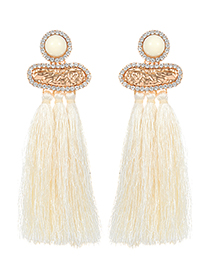 Fashion White Diamond Decorated Long Tassel Earrings