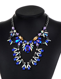 Fashion Sapphire Blue Geometric Shape Diamond Decorated Necklace
