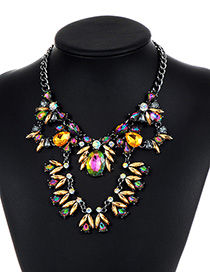 Fashion Multi-color Geometric Shape Diamond Decorated Necklace