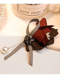Lovely Claret Red Flower&diamond Decorated Bowknot Brooch