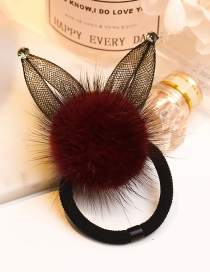 Lovely Claret Red Pearl&ball Decorated Double Layer Hair Band