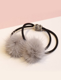 Lovely Gray Fuzzy Ball Decorated Double Layer Hair Band