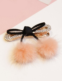 Lovely Pink Fuzzy Ball Decorated Bowknot Hairpin