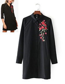 Vintage Black Embroidery Flowers Decorated Dress