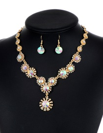 Lovely Light Multi-color Flower Shape Decorated Jewelry Sets