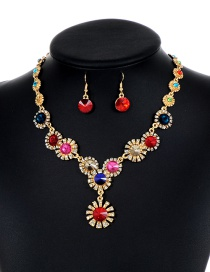 Lovely Multi-color Flower Shape Decorated Jewelry Sets