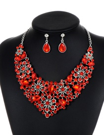 Elegant Red Hollow Out Decorated Jewelry Sets