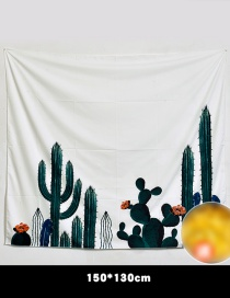Fashion Green+white Cactus Pattern Decorated Background Cloth(no Led )