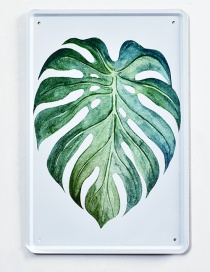 Fashion Green Leaf Pattern Decorated Hang Painting