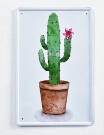 Fashion Green+brown Cactus Pattern Decorated Hang Painting