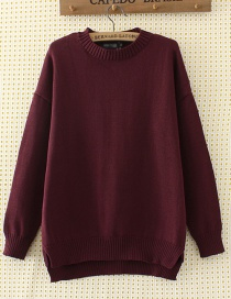 Elegant Claret-red Pure Color Decorated Sweater