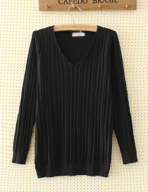 Elegant Black V-neckline Decorated Sweater