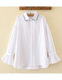 Fashion White Triangle Pattern Decorated Shirt