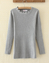 Elegant Gray Pure Color Decorated Sweater