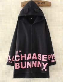 Fashion Black Ear Shape Decorated Coat